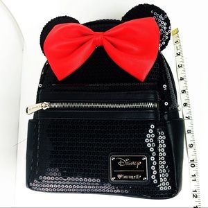 44a6343251c Loungefly Bags - Minnie Mouse Mini backpack Black Red Bow Sequin